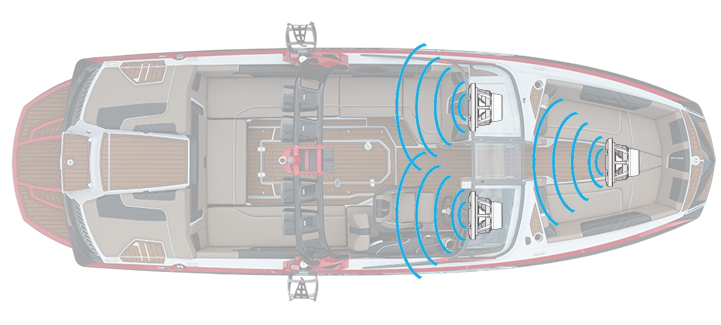 Boat with two cockpit subwoofers and a bow subwoofer