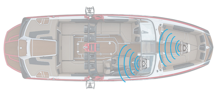 Boat with subwoofers in the cockpit and bow